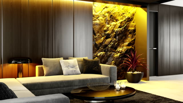 white to yellow led ambient light over stone wall in luxurious lounge room interior rgb ambient lights concept - modern rock stock videos & royalty-free footage