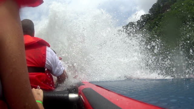 white water jet boat ride - inflatable raft stock videos and b-roll footage