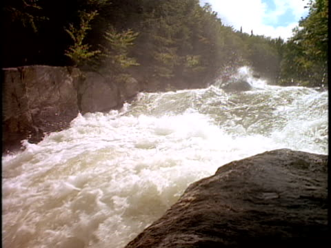 slo mo, ms, canted, white water rafters paddling through rapids, otter slide, north creek, adirondack state park, new york state, usa  - rafting stock videos & royalty-free footage