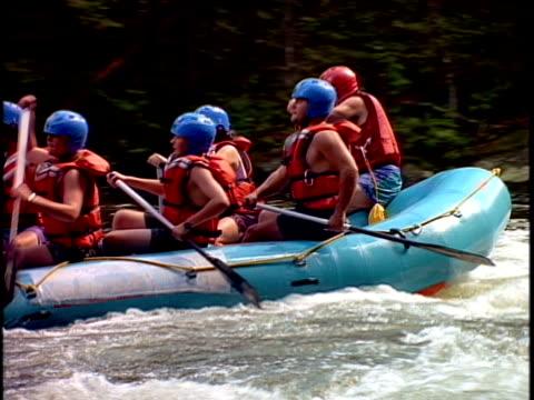 cu, ts, white water rafters paddling through rapids, otter slide, north creek, adirondack state park, new york state, usa  - adirondacks rafting stock videos & royalty-free footage