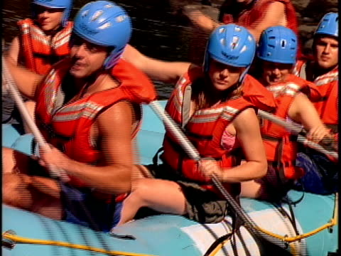 cu, white water rafters paddling through rapids, otter slide, north creek, adirondack state park, new york state, usa  - rafting stock videos & royalty-free footage