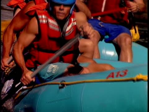 slo mo, cu, focusing, white water rafters paddling through rapids, otter slide, north creek, adirondack state park, new york state, usa  - adirondacks rafting stock videos & royalty-free footage