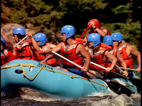 slo mo, ms, white water rafters paddling through rapids, otter slide, north creek, adirondack state park, new york state, usa  - adirondacks rafting stock videos & royalty-free footage