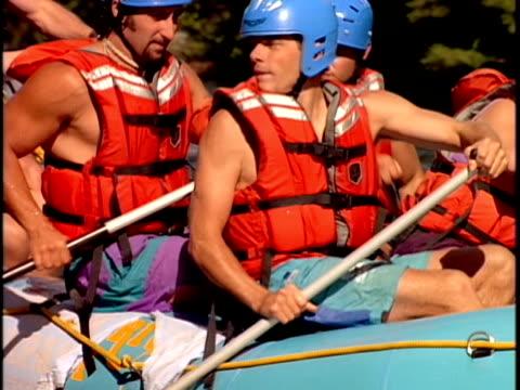 slo mo, cu, white water rafters paddling through rapids, otter slide, north creek, adirondack state park, new york state, usa  - adirondacks rafting stock videos & royalty-free footage