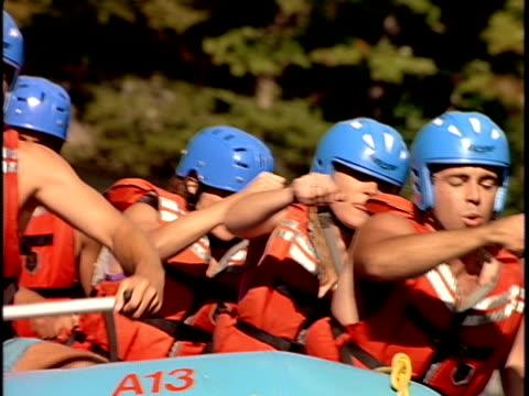 slo mo, cu, td, pan, white water rafters paddling through rapids, otter slide, north creek, adirondack state park, new york state, usa  - adirondacks rafting stock videos & royalty-free footage