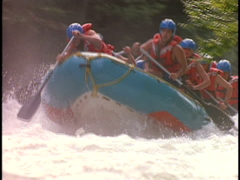 SLO MO, MS, CU, White water rafters paddling through rapids, Otter Slide, North Creek, Adirondack State Park, New York State, USA