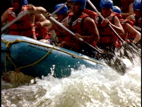 cu, ts, white water rafters paddling through rapids, otter slide, north creek, adirondack state park, new york state, usa  - inflatable raft stock videos and b-roll footage