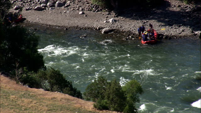 white water rafting at gardiner  - aerial view - montana, park county, united states - rafting stock videos and b-roll footage