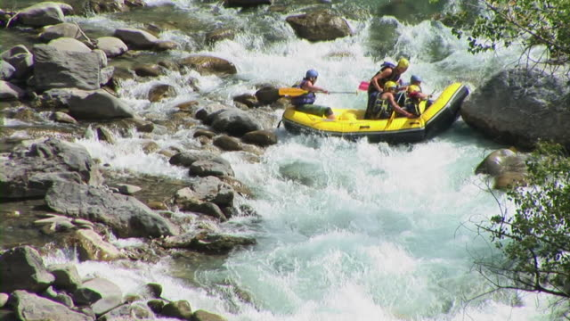 hd: white water rafting - inflatable raft stock videos and b-roll footage