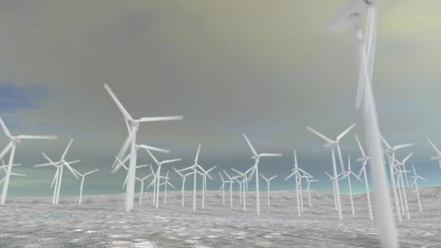 cgi white wind turbines against sky - abundance stock videos & royalty-free footage