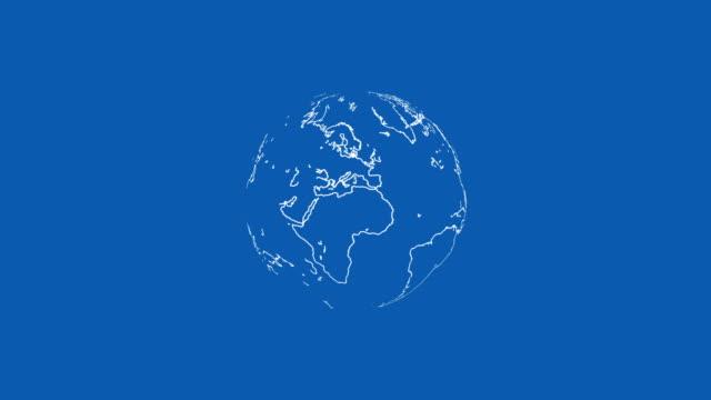 青い背景ループのための白い世界 - グローワーム点の映像素材/bロール