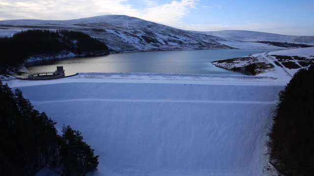 Whiteadder Dam flyover, Lammermuir Hills in the Scottish Borders, Scotland