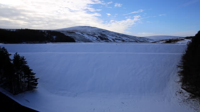 Whiteadder Dam reveal, Lammermuir Hills in the Scottish Borders, Scotland
