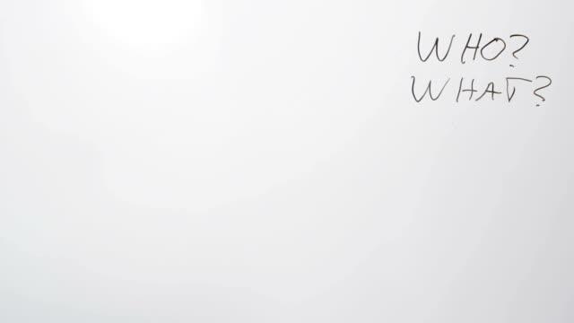 stockvideo's en b-roll-footage met whiteboard questions - de volgende stap