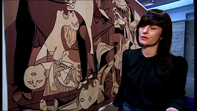 interview with artist goshka macuga macuga interview sot on getting idea to bring guernica tapestry to gallery and how it was achieved on guernica... - tapestry stock videos & royalty-free footage