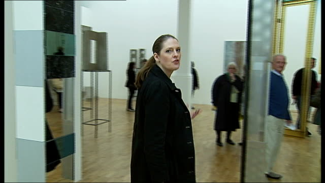 Whitechapel Gallery reopens Sculptures on display Reporter to camera Gallery entrance Pedestrians along Modern extension built behind Edwardian...