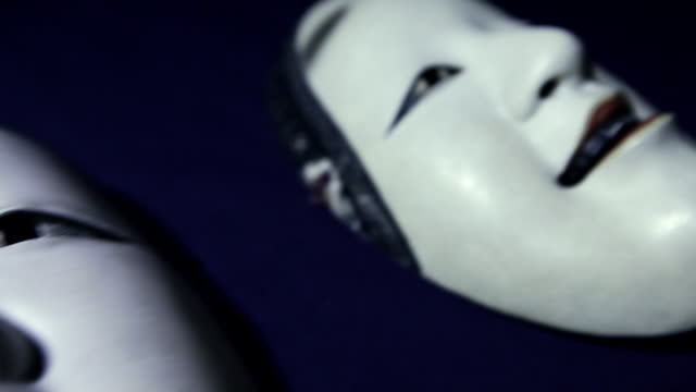 white-colored masks for kabuki (a traditional japanese form of theater) - unrecognizable person stock videos & royalty-free footage