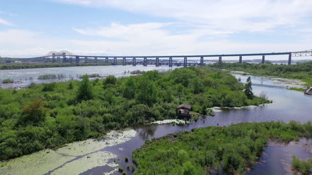 whitefish island and bridge to canada in sault ste marie, ontario - international border stock videos and b-roll footage