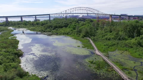 whitefish island and bridge to canada in sault ste marie, ontario - ontario canada stock videos & royalty-free footage