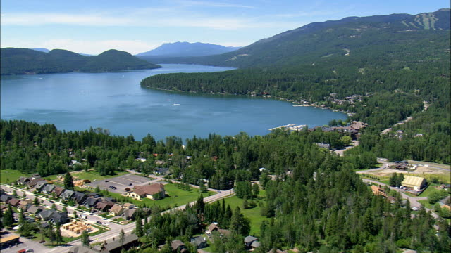 whitefish lake - aerial view - montana, flathead county, united states - flathead lake stock videos and b-roll footage