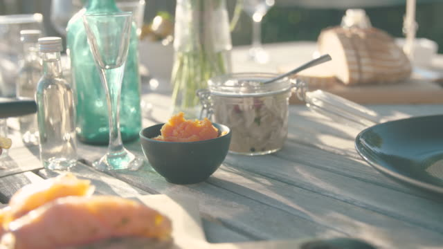 whitefish roe and herring - garden party stock videos & royalty-free footage