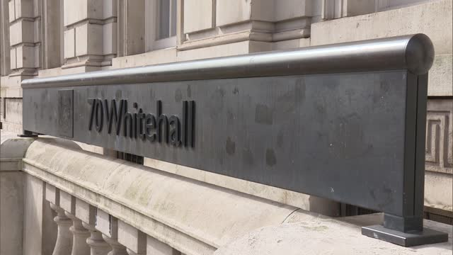 whitehall general views; england: london: whitehall: ext street sign 'whitehall' pull focus gvs traffic along whitehall various of building housing... - war and conflict stock-videos und b-roll-filmmaterial