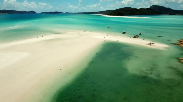 whitehaven beach. aerial view - wilderness stock videos and b-roll footage
