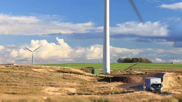 whitelee wind farm on eaglesham moor just south of glasgow in scotland uk is europes largest onshore wind farm with 140 turbines and an installed... - sustainable resources stock videos & royalty-free footage