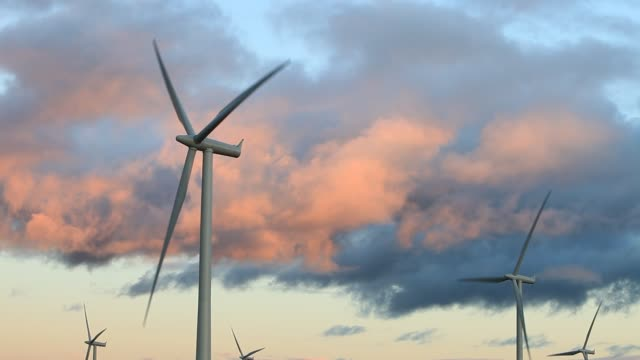 whitelee wind farm on eaglesham moor just south of glasgow in scotland, uk, is europes largest onshore wind farm with 140 turbines and an installed capacity of 322 mw, enough energy to power 180,000 homes. - propeller stock videos & royalty-free footage