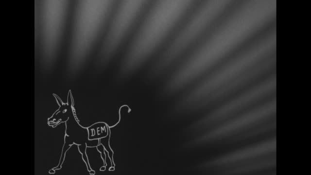 whiteonblack drawing of donkey with dem on saddle / whiteonblack drawing of elephant with gop on saddle / dem donkey / gop elephant / blackonwhite... - saddle stock videos and b-roll footage