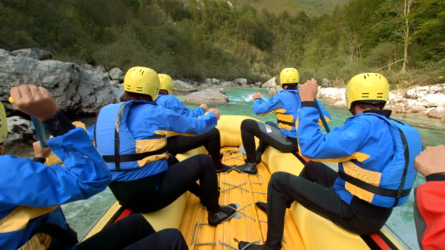 hd slow motion: whitewater rafters in action - inflatable raft stock videos and b-roll footage