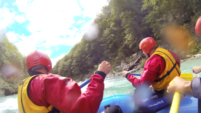 ms whitewater rafters in action - wearable camera stock videos & royalty-free footage