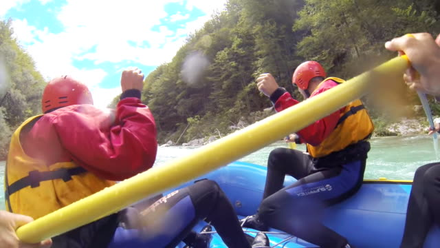slo mo whitewater rafters in action - rafting stock videos and b-roll footage