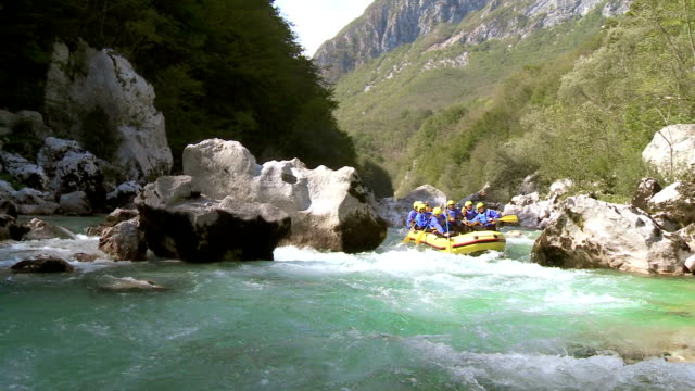 hd: whitewater rafters running rapids - inflatable raft stock videos and b-roll footage