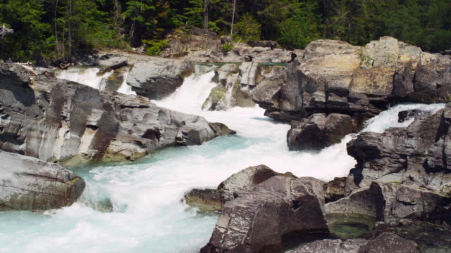 Whitewater river in Glacier National park in slow motion.