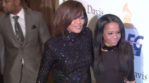 whitney houston, bobbi kristina brown at the pre-grammy gala & salute to industry icons with clive davis honoring david geffen at beverly hills ca. - whitney houston stock-videos und b-roll-filmmaterial