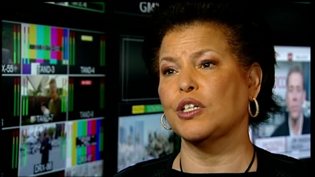 post mortem completed int reporter speaking with debra lee debra lee interview sot reporter to camera - whitney houston stock-videos und b-roll-filmmaterial