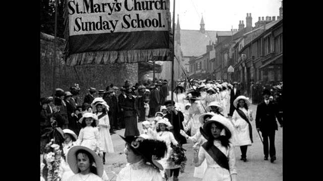 whitsuntide processions at clitheroe 1913 - england stock videos & royalty-free footage