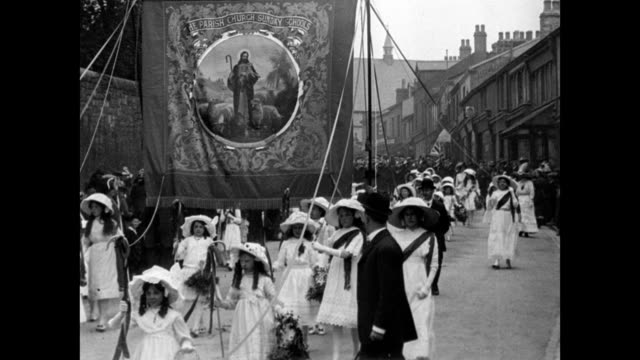 whitsuntide processions at clitheroe 1913 - british culture stock videos and b-roll footage