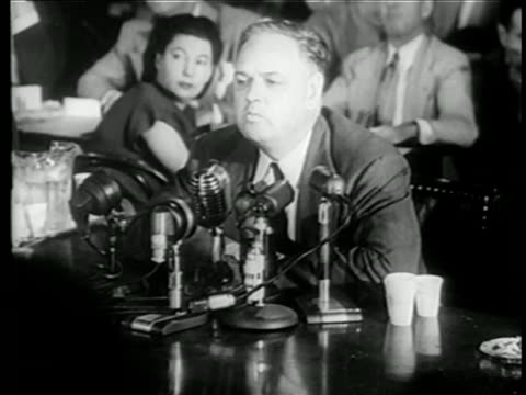 vídeos y material grabado en eventos de stock de whittaker chambers sitting before mikes at house committee on un-american activities trials - 1949