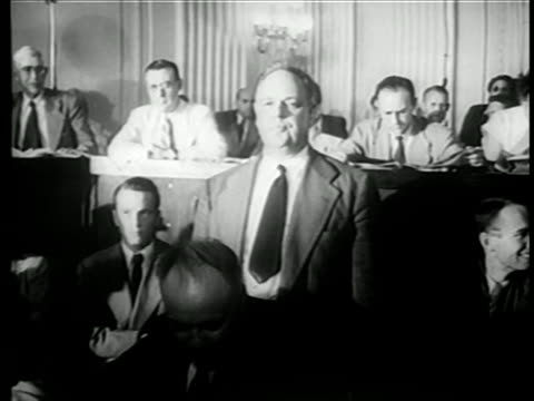 vidéos et rushes de whittaker chambers standing before house committee on unamerican activities trials - 1949