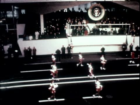 whittier high school marching band performing for richard nixon class of 1930 inaugural parade / us president richard nixon standing smiling waving... - richard nixon stock videos & royalty-free footage