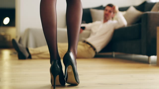 who could resist a woman in heels? - collant video stock e b–roll