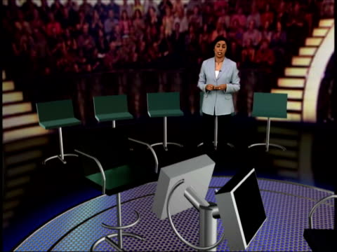 vídeos de stock, filmes e b-roll de 'who wants to be a millionaire' fraud trial: day 2; itn gir: int i/c in virtual reality mock-up of 'who wants to be a millionaire' studio southwark:... - game show