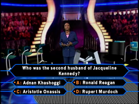 'who wants to be a millionaire?' trial verdict; i/c in vrg graphic of set dr peter french working at voice analysis machine dr peter french... - gioco televisivo video stock e b–roll