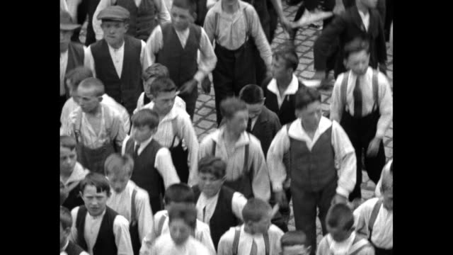 whole city dances to church in traditional skipping or hopping festival, the dancing procession of echternach, which is included in the unesco... - headwear stock videos & royalty-free footage