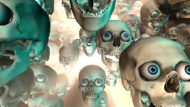 sacco di skulls andare avanti sotto luce brillante (ad anello - immagine in movimento in loop video stock e b–roll