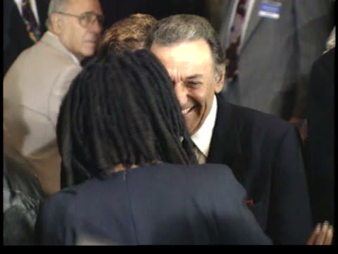 whoopi golberg talking to norm crosby in crowd before ceremony - friars roast 1993 stock videos and b-roll footage