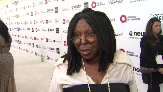interview whoopi goldberg at elton john aids foundation presents 22nd annual academy awards viewing party sponsored by chopard neuro drinks and wells... - whoopi goldberg stock videos & royalty-free footage