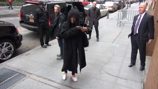 whoopi goldberg leaves the view show signs for a fan in celebrity sightings in new york - whoopi goldberg stock videos & royalty-free footage
